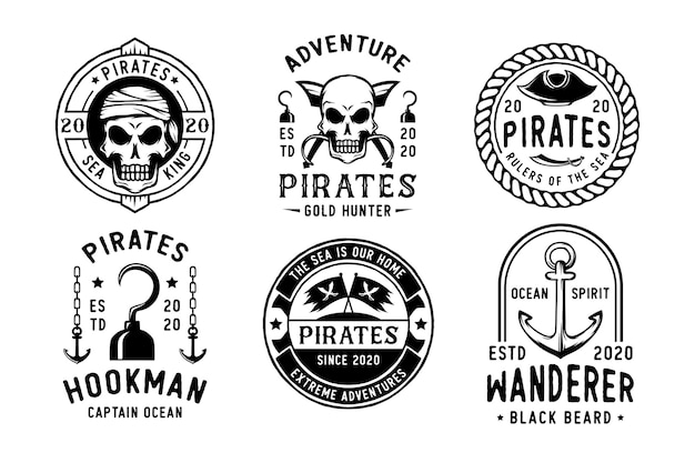Conjunto de emblema ou logotipo vintage de piratas