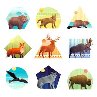 Conjunto de emblema poligonal de animais