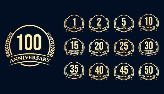 Conjunto de emblema redondo de anos de aniversário de aniversário, coroa de louros. design de modelo