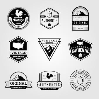 Conjunto de emblema retro vintage premium logotipo pacotes design ilustração