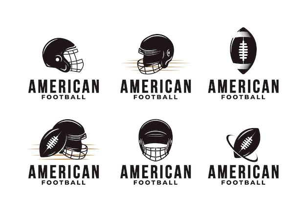 Conjunto de emblema vintage do logotipo do esporte de futebol americano com equipamento de futebol americano