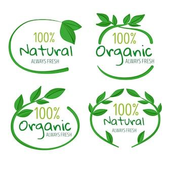 Conjunto de emblemas 100% naturais