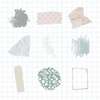 Conjunto de emblemas abstratos em tons pastel