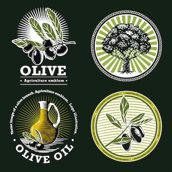 Conjunto de emblemas agrícolas em um fundo verde