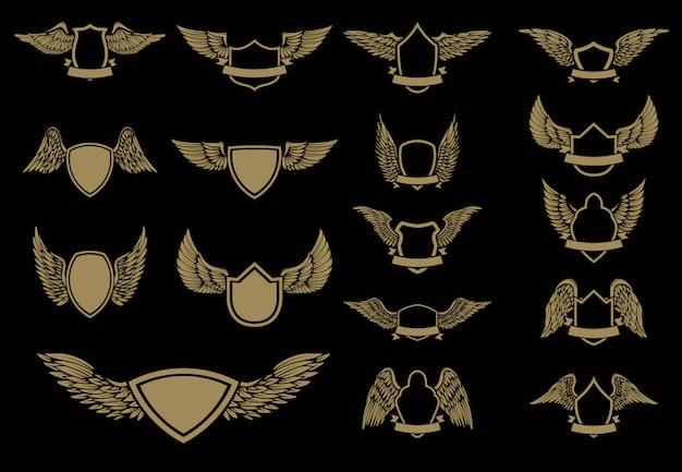 Conjunto de emblemas alados em estilo dourado. elemento para, etiqueta, emblema, sinal. ilustração.