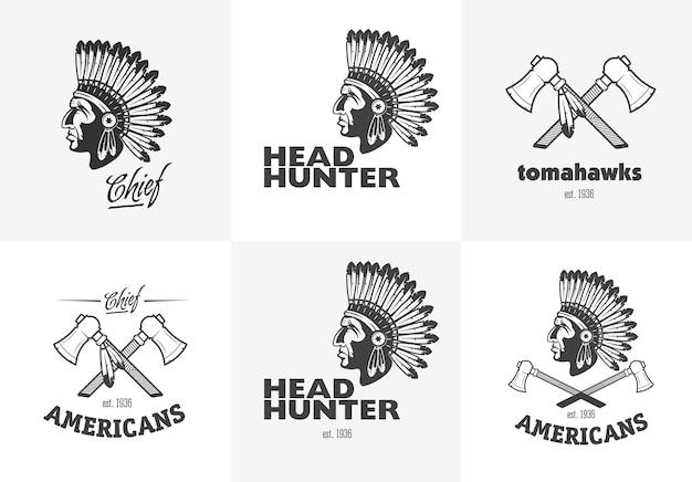 Conjunto de emblemas americanos indianos