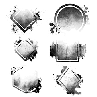 Conjunto de emblemas angustiado preto grunge