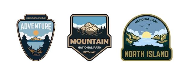 Conjunto de emblemas ao ar livre vintage mountain ilustração emblema patch stiker