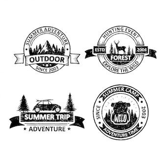 Conjunto de emblemas ao ar livre vintage