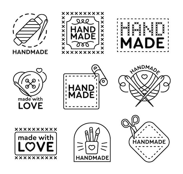 Conjunto de emblemas artesanais