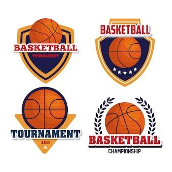 Conjunto de emblemas, campeonato de basquete da liga, desenhos com bola de basquete