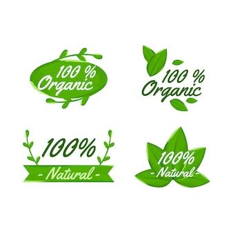 Conjunto de emblemas cem por cento naturais