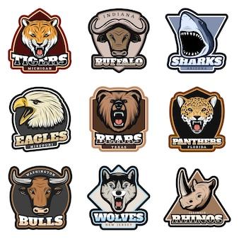 Conjunto de emblemas coloridos de animais selvagens
