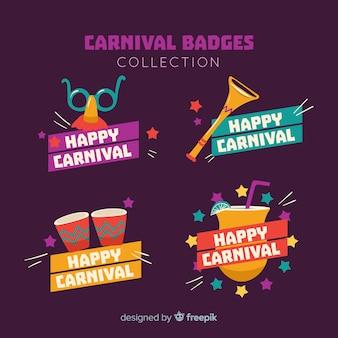 Conjunto de emblemas coloridos de carnaval