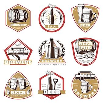 Conjunto de emblemas coloridos de cerveja vintage