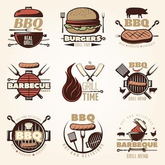 Conjunto de emblemas coloridos de churrasco