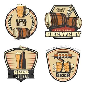 Conjunto de emblemas coloridos de fabricação de cerveja vintage