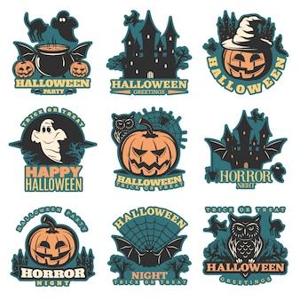 Conjunto de emblemas coloridos de halloween