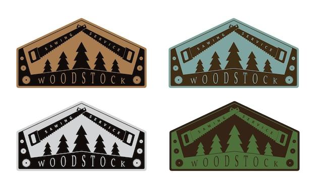 Conjunto de emblemas coloridos de madeira em estilo vintage