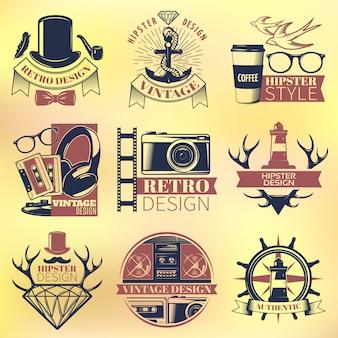 Conjunto de emblemas coloridos hipster vintage