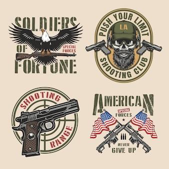 Conjunto de emblemas coloridos militares vintage