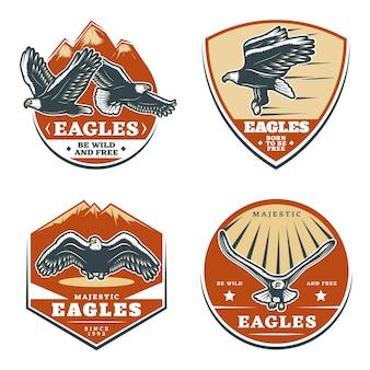 Conjunto de emblemas coloridos vintage de águias americanas