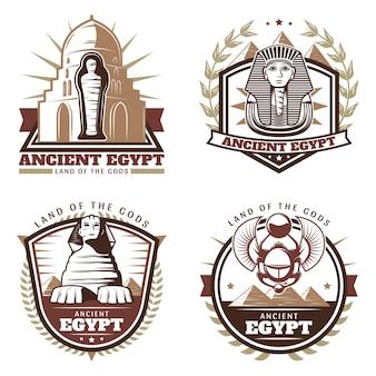 Conjunto de emblemas coloridos vintage do egito antigo