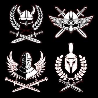 Conjunto de emblemas com arma antiga viking