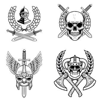 Conjunto de emblemas com armas antigas e crânios viking