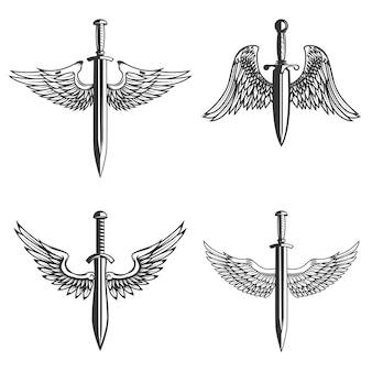 Conjunto de emblemas com asas e espada medieval.