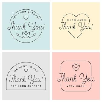 Conjunto de emblemas com gráficos de agradecimento e rótulos de vetor de elementos de design e logotipo para gratidão, branding, propaganda.