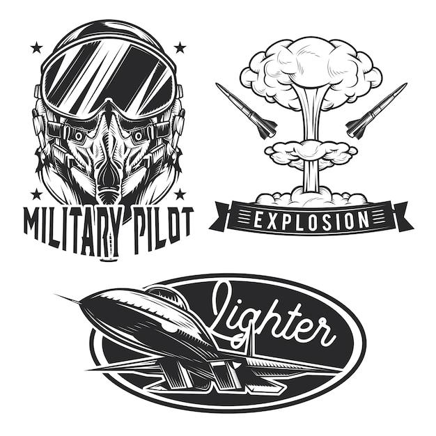 Conjunto de emblemas da aviação, etiquetas, emblemas, logotipos.