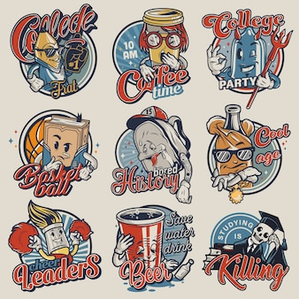 Conjunto de emblemas da faculdade vintage
