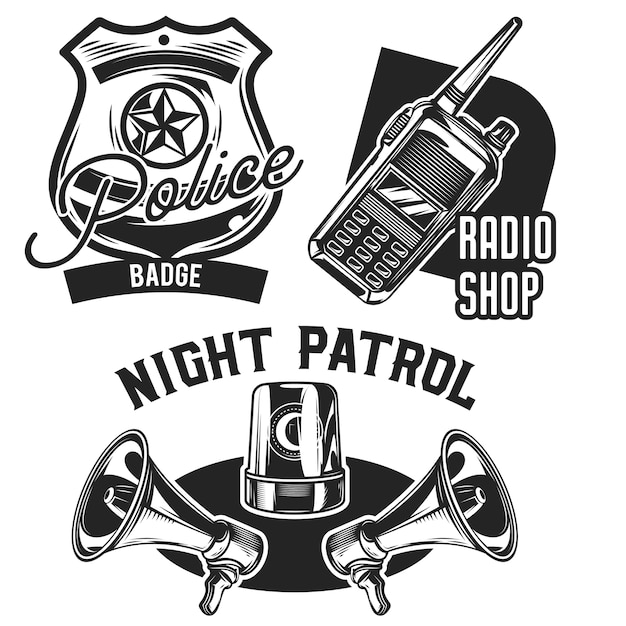 Conjunto de emblemas da polícia