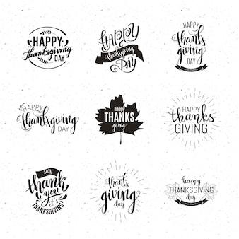 Conjunto de emblemas de ação de graças feliz