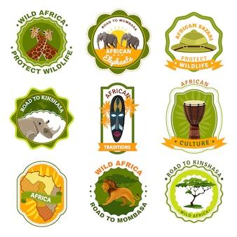 Conjunto de emblemas de áfrica