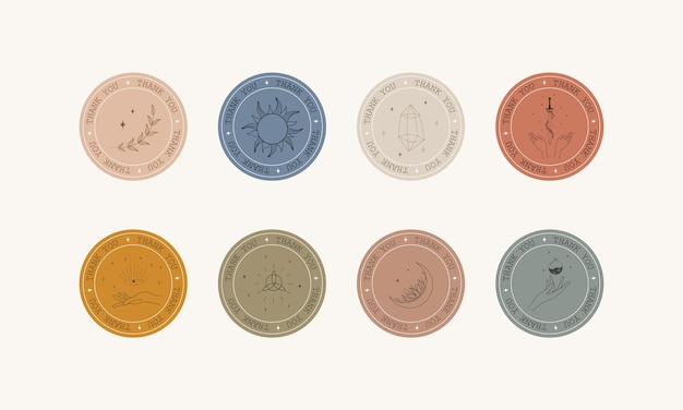 Conjunto de emblemas de agradecimento boho no estilo linear.