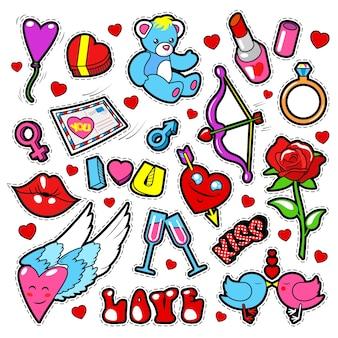 Conjunto de emblemas de amor de moda com adesivos, adesivos, lábios, corações, beijo, batom em estilo de quadrinhos pop art.