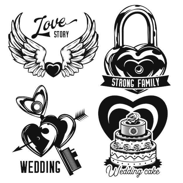 Conjunto de emblemas de amor e casamento