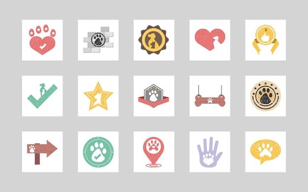 Conjunto de emblemas de animais de estimação