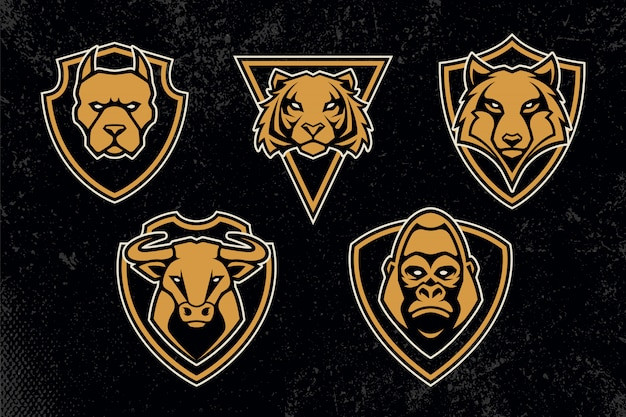 Conjunto de emblemas de animais mascote