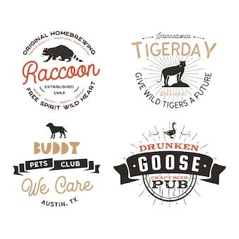 Conjunto de emblemas de animais selvagens