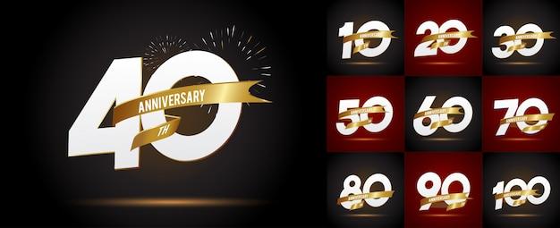 Conjunto de emblemas de aniversário, modelo de aniversário