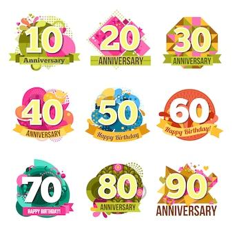Conjunto de emblemas de aniversário plana
