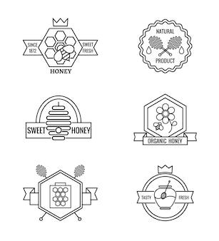 Conjunto de emblemas de apicultura e apicultura