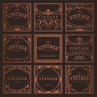 Conjunto de emblemas de art nouveau bronze vintage vector
