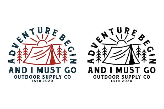 Conjunto de emblemas de atividades ao ar livre e aventura, adesivo, etiqueta