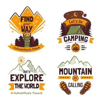 Conjunto de emblemas de aventura desenhados à mão