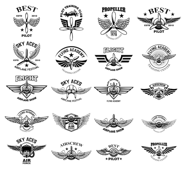Conjunto de emblemas de aviões antigos