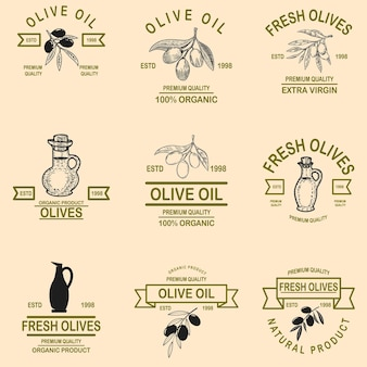 Conjunto de emblemas de azeite.